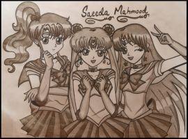 sailor jupiter,sailor moon and sailor mars by saeedamahmood