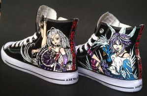 Rosario + Vampire Custom Handpainted Hi Top Shoes by rachelliles352