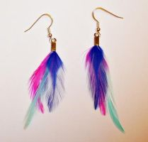 pink blue and purple earrings by rachguerrero