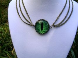 Evil Eye Dragon Eye Green Choker Necklace Chains by LadyPirotessa