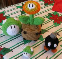 Super Mario Crocheted Plushies by merigreenleaf