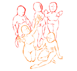 Group pose study by Zakeena