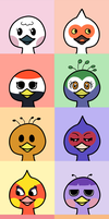 Animal Crossing Avatars-Ostriches by Maareep