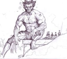 Wolverine, totally drunk by lucassobotta