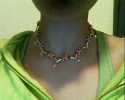 pink and silver 2-strand necklace by Galasdian