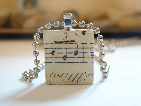 Music Notes Scrabble Pendant by PastryStitches