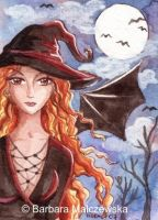 ACEO Red-head Witch by Malczewska