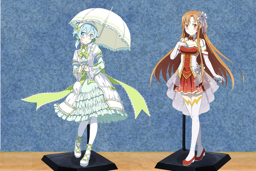 Sinon and Asuna Dolls Request by adi1625