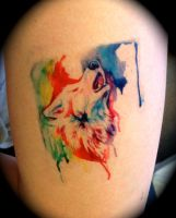 Rainbow Wolf Temporary Tattoo by Lucky978