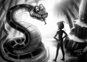 KAA and Mowgli (DSC) by jameslink