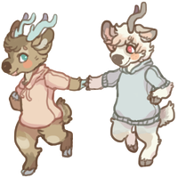 deers in sweaters by UmbreRoshia