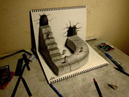 3D Drawing - World drawn by pencil by NAGAIHIDEYUKI