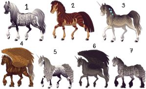Horse Adoptables Sheet-5 points each(4 of 7 open) by Yunarii