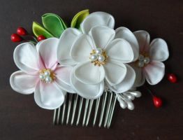 Handmade Ume kanzashi. wedding set. by hanatsukuri