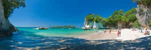 Cathedral Cove Pano by mark-flammable