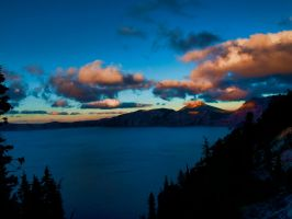 Crater Lake Sunset by MartinGollery