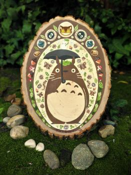 Totoro Painting on Wood by AquaJ
