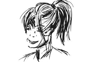 Girl With Ponytail Caligraphy Brush by fatedquest