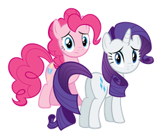 Rarity and Pinkie Pie Looking Concerned by delectablecoffee