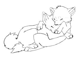 Wolves Cuddling Free Lineart by Motzii