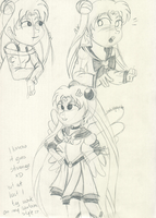 Sailor Moon doodles by Diablicka