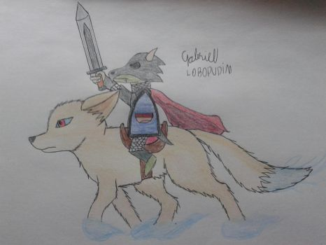 paladin kobold and his battle fennec by lobopudim