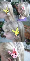 Pikachu and Bunny Hair Clips by xxx-TeddyBear-xxx