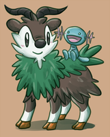 Skiddo and Wooper by sapphireluna