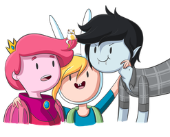 Gumball, Fionna, Marshall Lee.....and Cake by TheCheeseburger