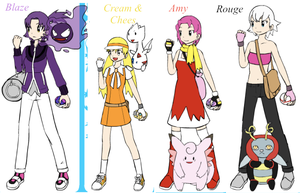Sonic Girls in Pokemon by Lunarstream