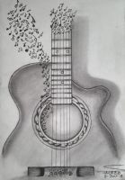 Guitar Is Music (Pencil Sketching) by shaixey