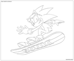 Sonic on snowboard - lineart by JacobMainland