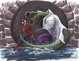 Spider-Man vs The Lizard by tdastick
