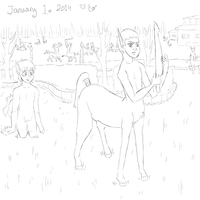 2014 first sketch Young Centaurs by Eloarei