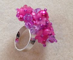 Cluster Flower Ring - Pink and Purple by WhiteMagicPriestess