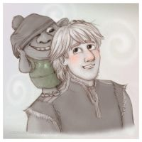 Frozen - Kristoff with young troll by Loony-Lucy