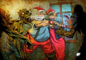 santa against zombies by estivador