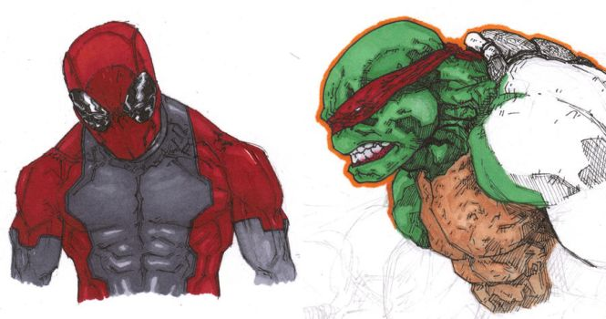 Deadpool and Raph by anthonyharrisart