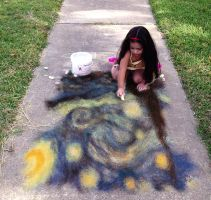 Starry Night, Sidewalk Chalk by estilodesigns