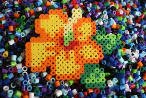 Perler Beads- Tropical Flower by Puppylover5