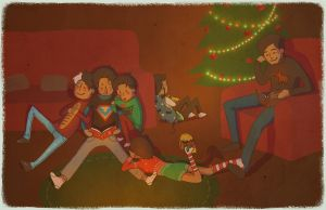 Christmas Batfamily by Glasmond