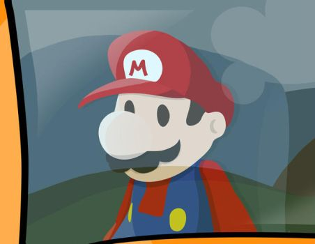 Mario in the bus window by MGH-Mad-Gamer