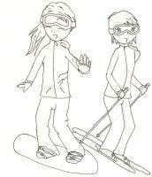 Snowboarding with my best friend. by elca98