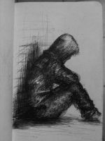 small drawings - lonely guy by hellmancrow