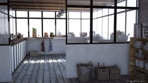 Concrete loft kitchen by KRYPT06