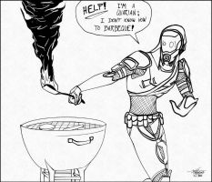 Who let the Quarian near the BBQ?! by JesterDK