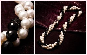 Onyx and Freshwater Pearl Twist Necklace by Sarahorsomeone
