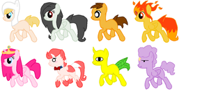 AdventureTime ponies (adoptable set) by TheApplePone