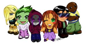 Teen Titan chibis by LadyProphet