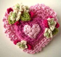 Crochet Valentine Heart Pin by meekssandygirl